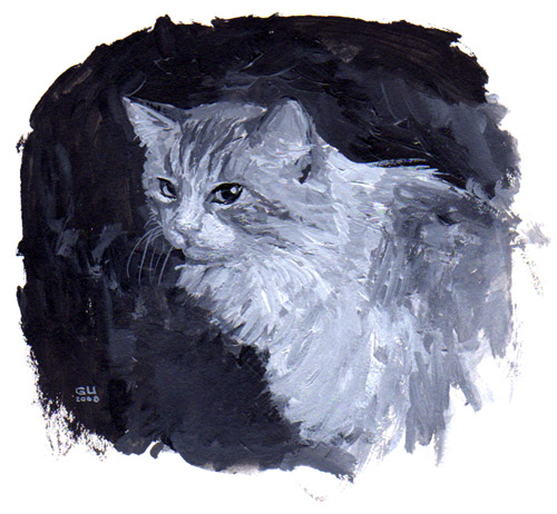 Cat painting by Gabriel Utasi, available for commissions