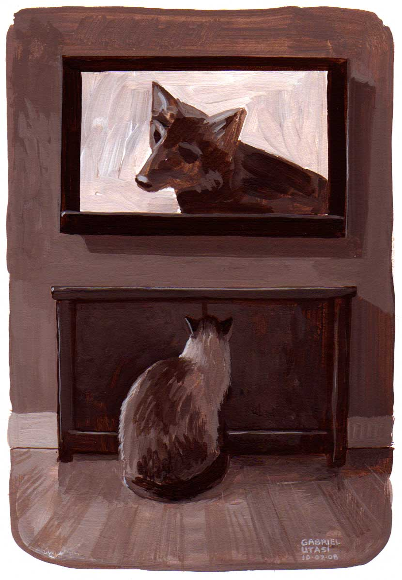 Painting of a cat watching T.V. by Gabriel Utasi