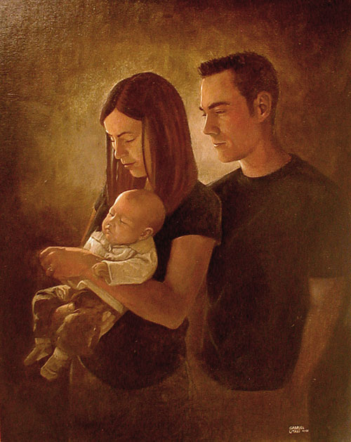 Oil painting of a husband, wife, and baby by Gabriel Utasi