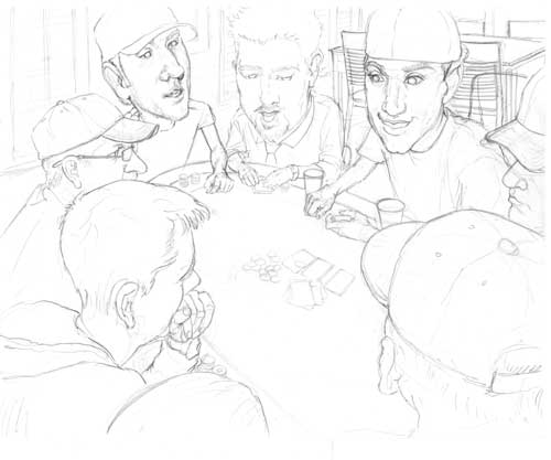 This is the first step of the Poker Night illustration. I used a reference photo and cropped and changes some details from the original.