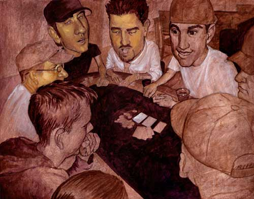 Here we have step two of the Poker Night illustration. Well, closer to a step three, because step two was to apply a wash of brownish color over the entire sketch to give me a neutral starting point. I then went in and painted the darks in. Here I started painting the lighter values and skin tones, which look fine in person but scan as a bright yellowy color.
