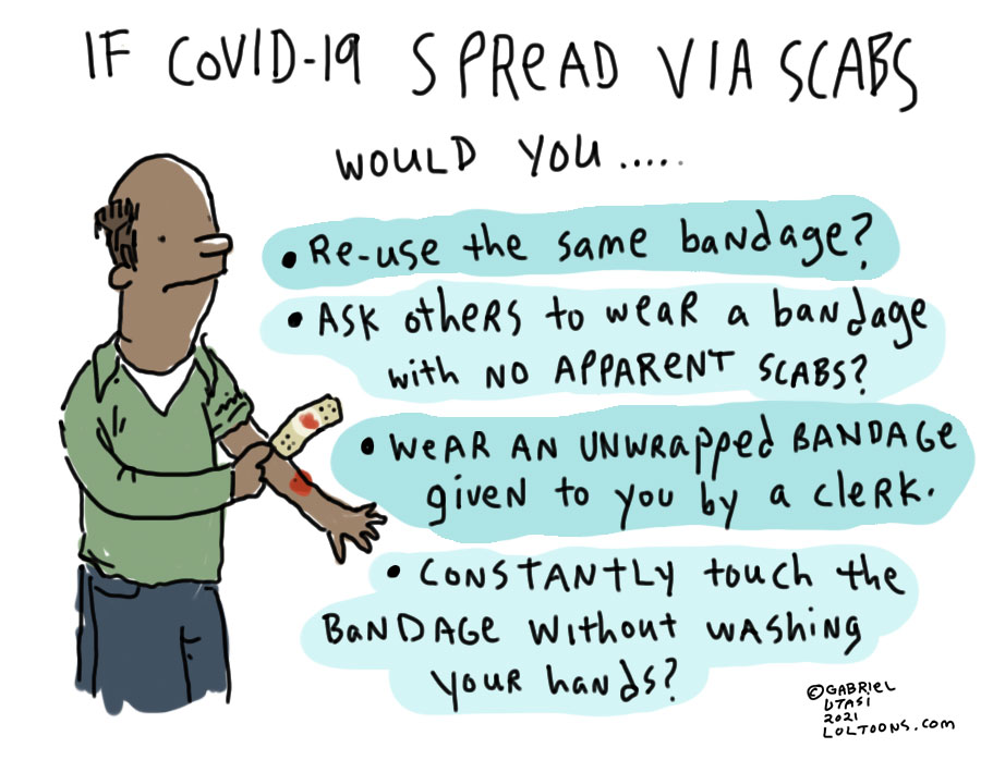 Funny comic by award-winning artist Gabriel Utasi about COVID-19 being spread through scabs