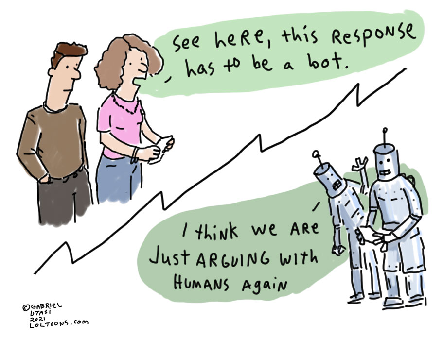 Funny cartoon by award-winning artist Gabriel Utasi about arguing with bots online