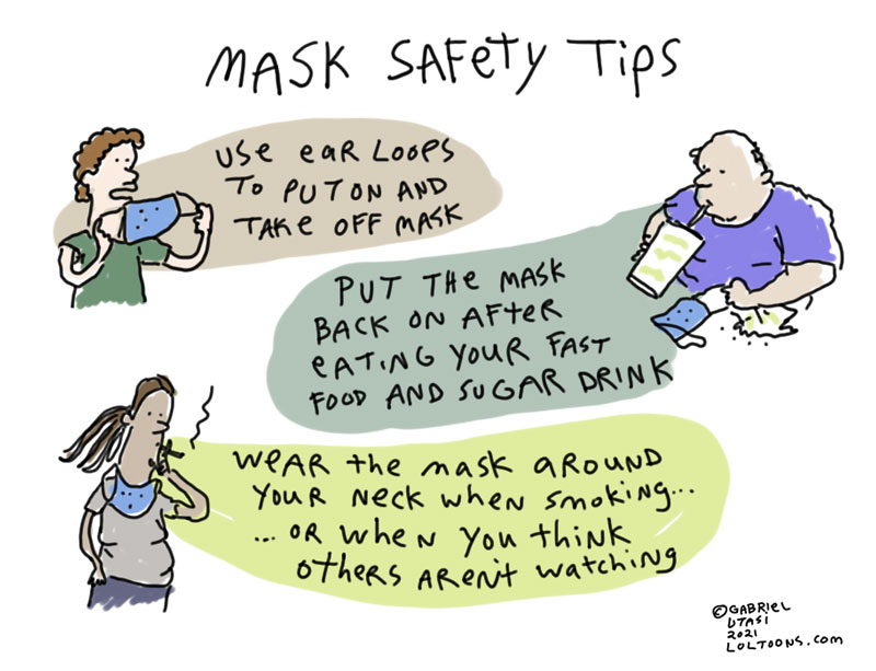 Funny cartoon by award-winning artist Gabriel Utasi about mask safety