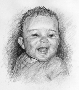 Child Portrait Drawing by Cincinnati Portrait Artist Gabriel Utasi
