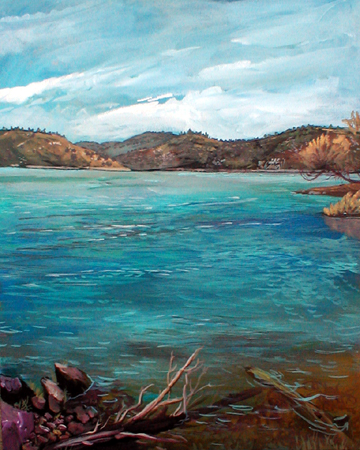 Millerton Lake Oil Painting by Cincinnati Artiist Gabriel Utasi