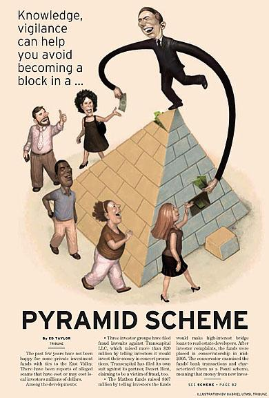 Pyramid Scheme Illustration by Cincinnati Artist Gabriel Utasi